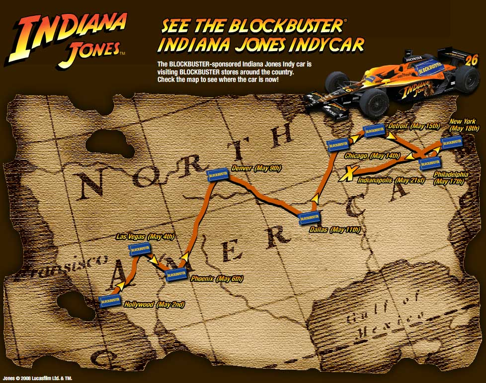 Throw me the idol the site for indiana jones collectibles us know that the blockbuster site for their indy 500 car has gone live click through for more info on how to see the car at select blockbuster stores gumiabroncs Gallery